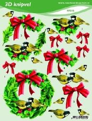 3D Knipvel A5 Voorbeeldkaarten 015 Kerst krans rode strik