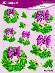 3D Knipvel A5 Voorbeeldkaarten 014 Kerst krans roze strik
