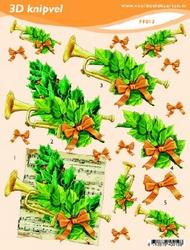 3D Knipvel A5 Voorbeeldkaarten 012 Kerst trompet