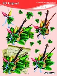 3D Knipvel A5 Voorbeeldkaarten 011 Kerst viool