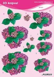 3D Knipvel A5 Voorbeeldkaarten 031 Bloemen lila