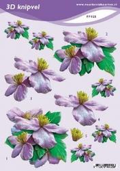 3D Knipvel A5 Voorbeeldkaarten 025 Bloemen lila
