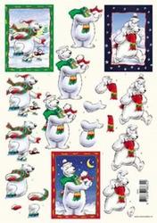 3D Kerstknipvel Voorbeeldkaarten 8632 ijsbeer