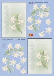 A4 Borduurknipvel Carddeco HJ3603 Witte bloem