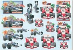 Knipvel A4 Mireille E552 Heren/Racewagen rood blauw