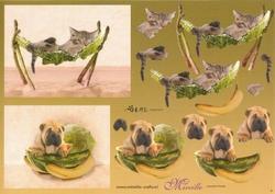 Knipvel A4 Mireille Örme 09 Hond/poes met watermeloen