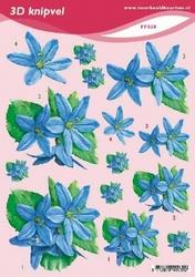 3D Knipvel A5 Voorbeeldkaarten 030 Bloemen blauw