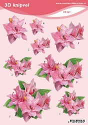 3D Knipvel A5 Voorbeeldkaarten 027 Bloemen roze