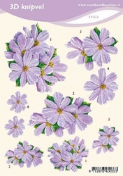 3D Knipvel A5 Voorbeeldkaarten 033 Bloemen lila