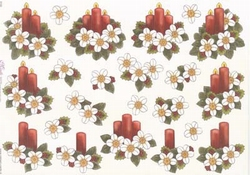 Mireille A4 knipvel X100 Kerststukjes rode kaars/witte bloem