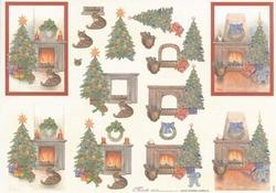 Mireille A4 knipvel X164 Kerst bij de open haard