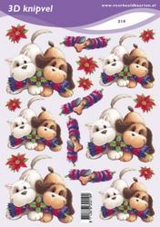 3D Knipvel A5 Voorbeeldkaarten 219 hondjes met Kerst pakje