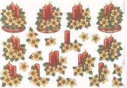 Mireille A4 knipvel X115 Kerststukjes rode kaars/beige bloem