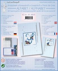 LeCreaDesign Alfabet kruissteekkaart 81.4819 Blauw