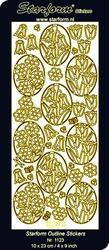 Stickervel Starform Outline 1123 Bloemen in ovaal