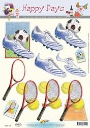 3D Knipvel Happy Days 119 Sport Tennis/voetbal