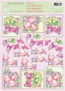 LeCreaDesign A4 Knipvel Bloemen 50.4352 roze