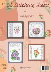 Ann's Paper Art 3D Stitching Sheets 11 Bloemen