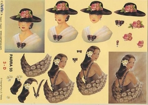 A4 Knipvel Parra 33 Vrouw met hoed met roze roos