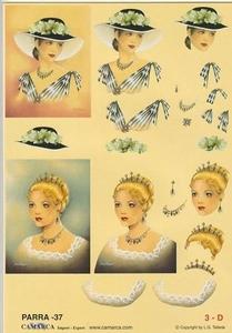 A4 Knipvel Parra 37 Vrouw met hoed met witte rozen